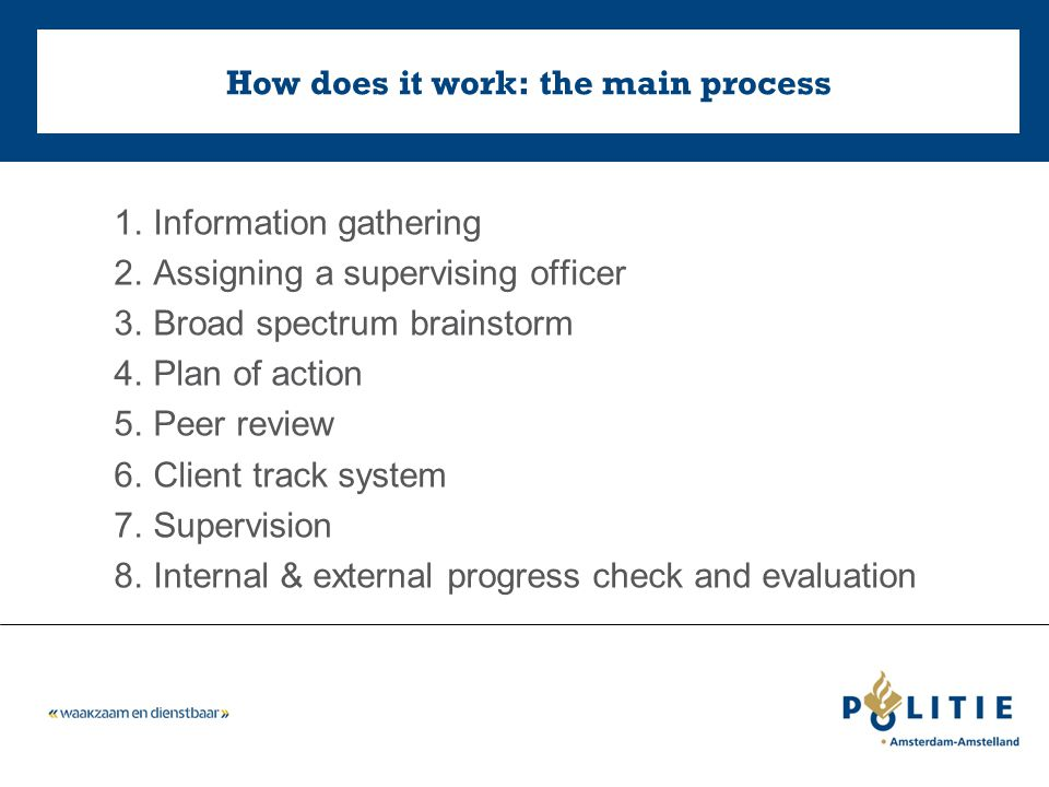 How does it work: the main process 1.Information gathering 2.Assigning a supervising officer 3.Broad spectrum brainstorm 4.Plan of action 5.Peer review 6.Client track system 7.Supervision 8.Internal & external progress check and evaluation