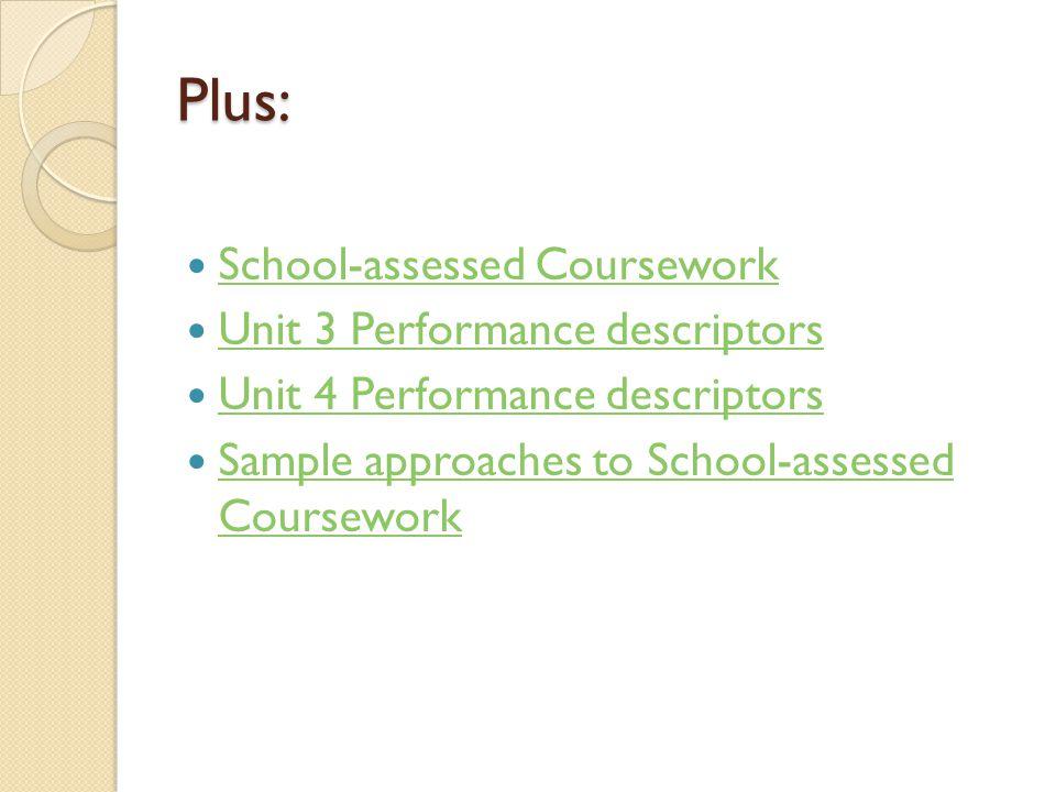 Plus: School-assessed Coursework Unit 3 Performance descriptors Unit 4 Performance descriptors Sample approaches to School-assessed Coursework Sample