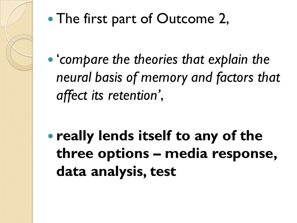 The first part of Outcome 2, 'compare the theories that explain the neural basis of memory and factors that affect its retention', really lends itself