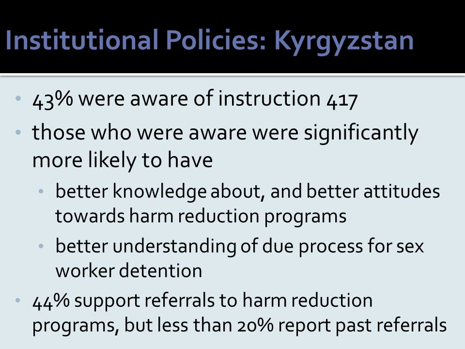 Institutional Policies: Kyrgyzstan 43% were aware of instruction 417 those who were aware were significantly more likely to have better knowledge abou