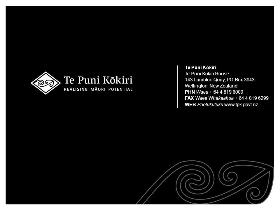 Te Puni Kōkiri Te Puni Kōkiri House 143 Lambton Quay, PO Box 3943 Wellington, New Zealand PHN Waea + 64 4 819 6000 FAX Waea Whakaahua + 64 4 819 6299 WEB Paetukutuku www.tpk.govt.nz