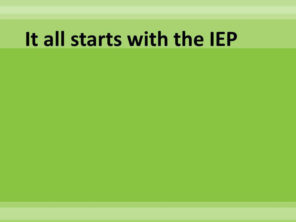 It all starts with the IEP