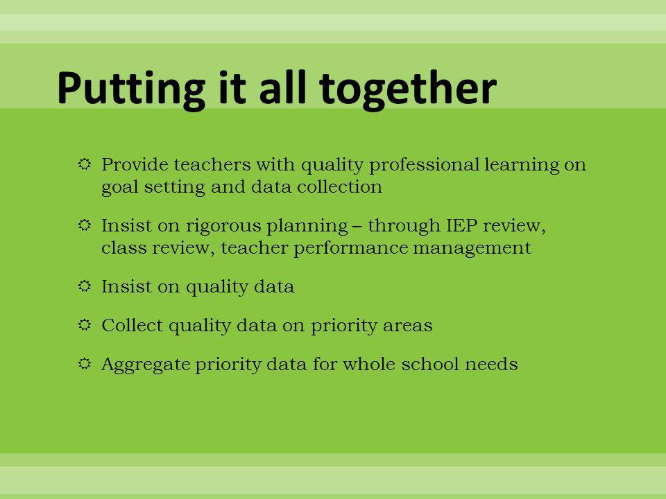 Putting it all together  Provide teachers with quality professional learning on goal setting and data collection  Insist on rigorous planning – through IEP review, class review, teacher performance management  Insist on quality data  Collect quality data on priority areas  Aggregate priority data for whole school needs