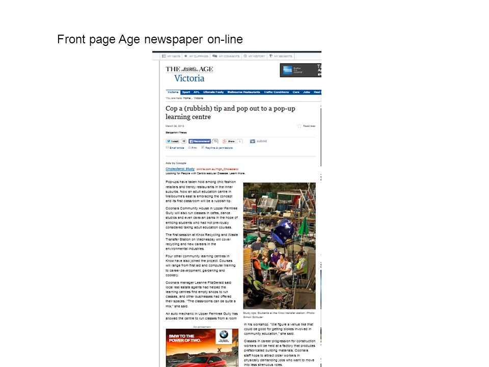 Front page Age newspaper on-line
