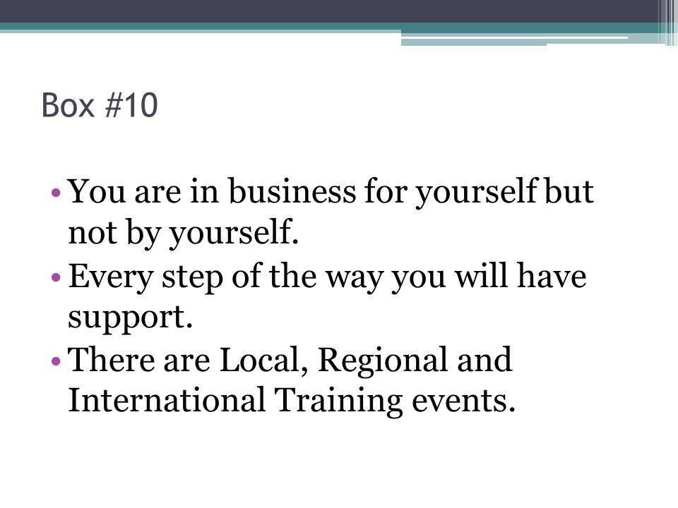 Box #10 You are in business for yourself but not by yourself.
