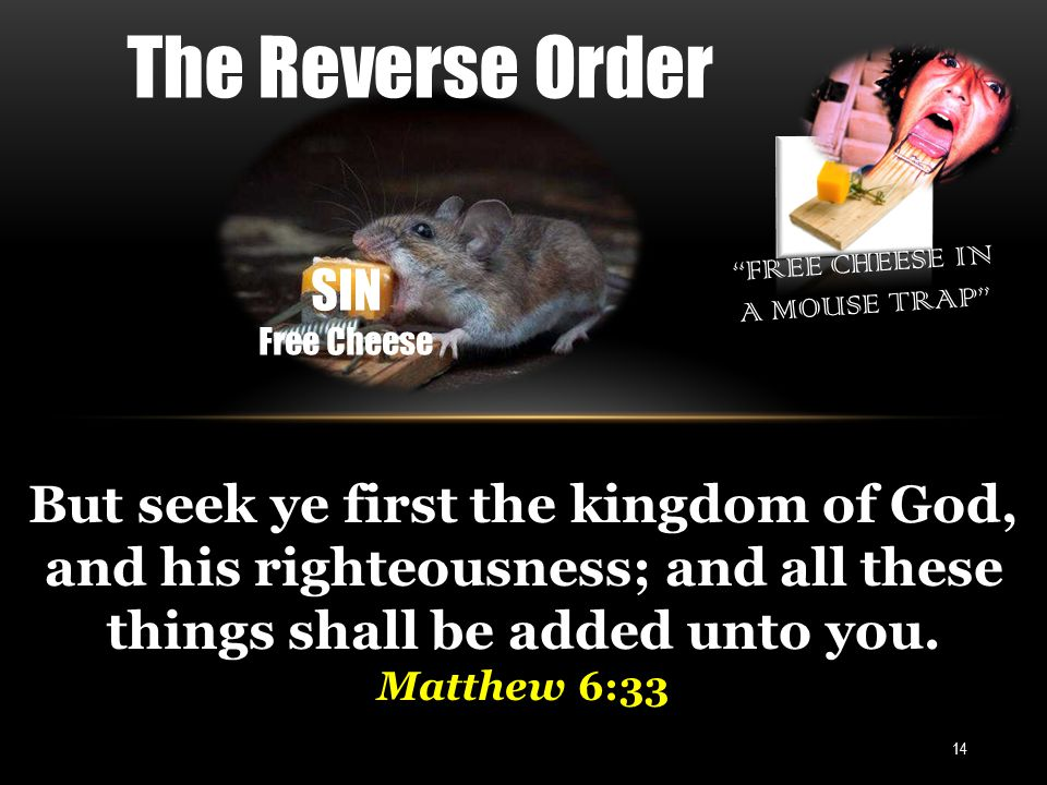 FREE CHEESE IN A MOUSE TRAP 14 But seek ye first the kingdom of God, and his righteousness; and all these things shall be added unto you.