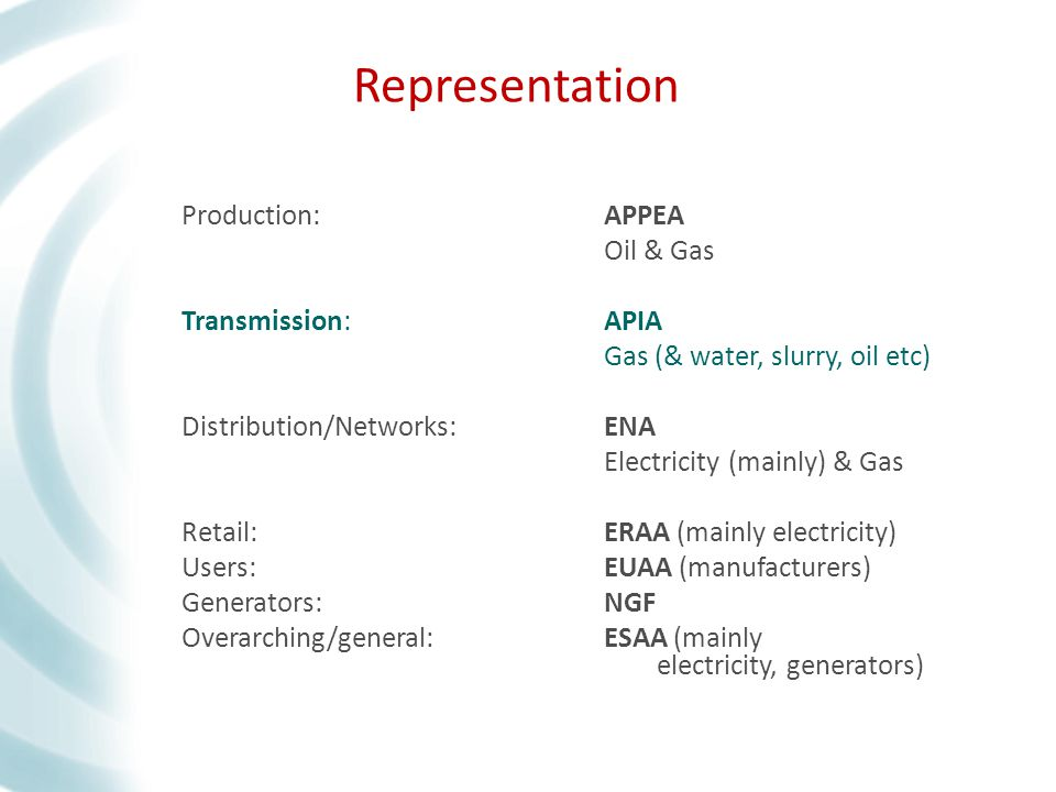 Production:APPEA Oil & Gas Transmission:APIA Gas (& water, slurry, oil etc) Distribution/Networks:ENA Electricity (mainly) & Gas Retail:ERAA (mainly electricity) Users:EUAA (manufacturers) Generators:NGF Overarching/general:ESAA (mainly electricity, generators) Production:APPEA Oil & Gas Transmission:APIA Gas (& water, slurry, oil etc) Distribution/Networks:ENA Electricity (mainly) & Gas Retail:ERAA (mainly electricity) Users:EUAA (manufacturers) Generators:NGF Overarching/general:ESAA (mainly electricity, generators) Representation