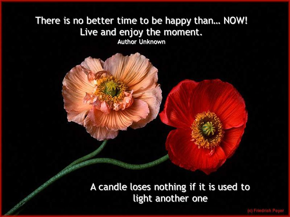 A candle loses nothing if it is used to light another one There is no better time to be happy than… NOW.