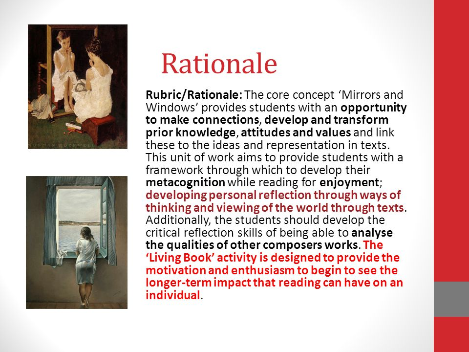 Rationale Rubric/Rationale: The core concept 'Mirrors and Windows' provides students with an opportunity to make connections, develop and transform pr