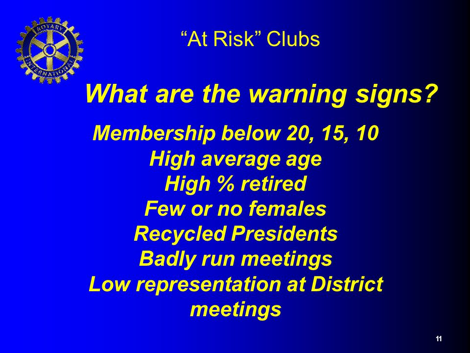 "11 ""At Risk"" Clubs What are the warning signs? Membership below 20, 15, 10 High average age High % retired Few or no females Recycled Presidents Badly"