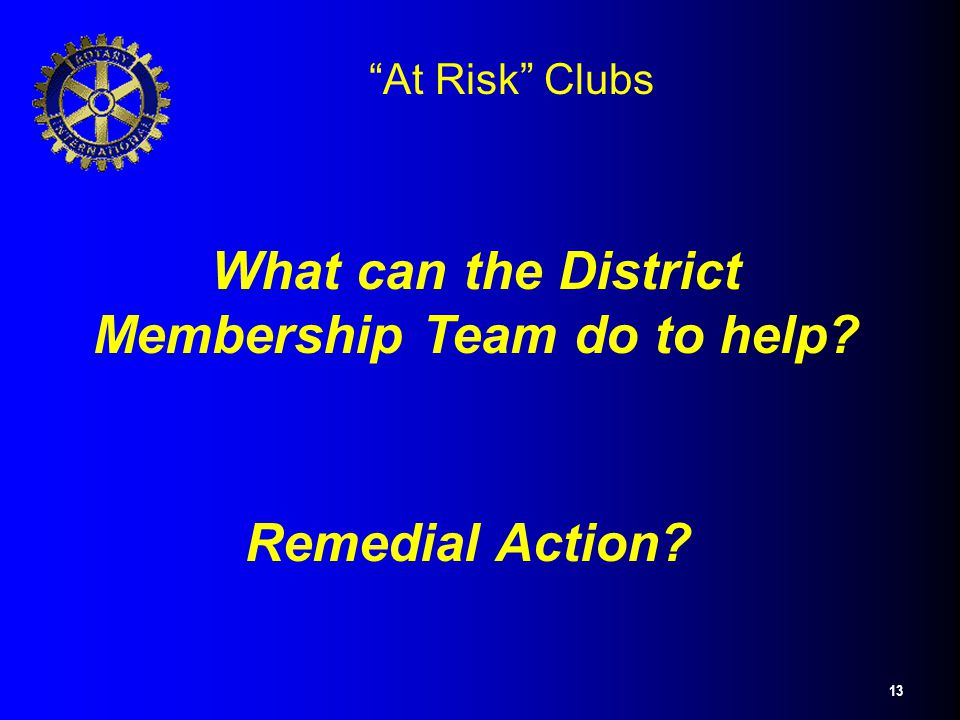 "13 ""At Risk"" Clubs What can the District Membership Team do to help? Remedial Action?"
