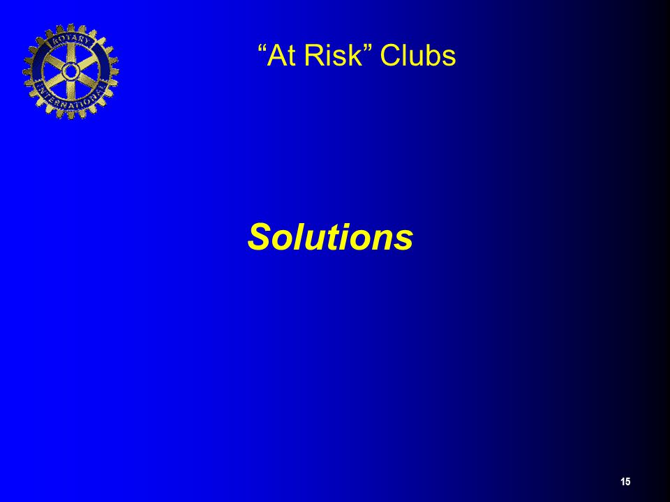 "15 ""At Risk"" Clubs Solutions"