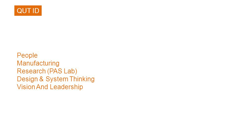 People Manufacturing Research (PAS Lab) Design & System Thinking Vision And Leadership QUT ID