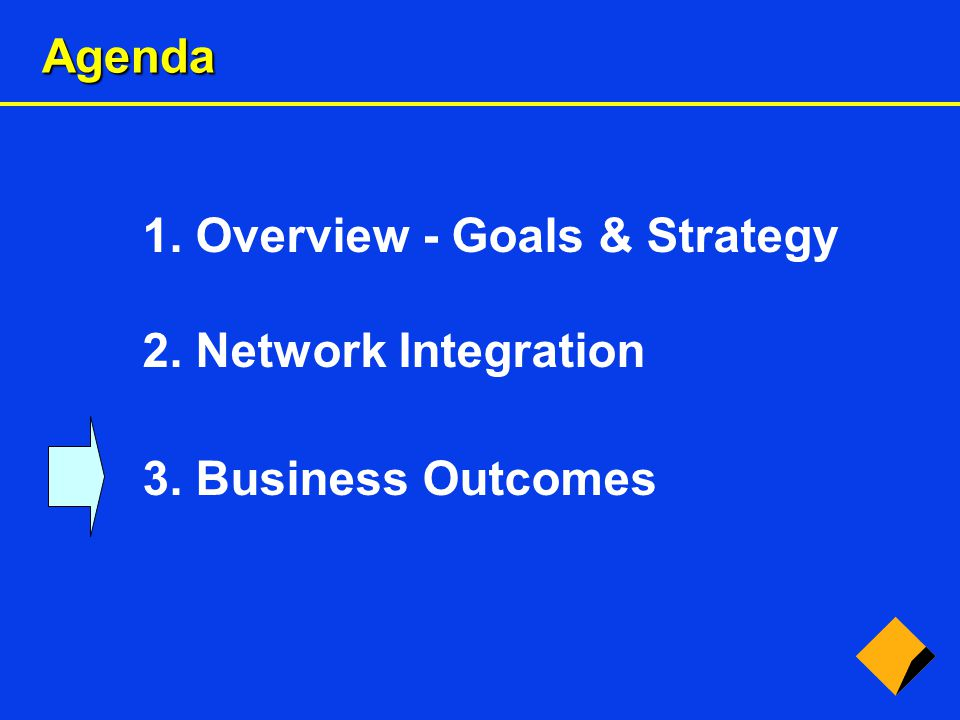 Agenda 1. Overview - Goals & Strategy 2. Network Integration 3. Business Outcomes