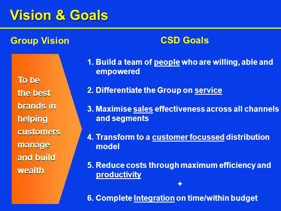 To be the best brands in helping customers manage and build wealth Vision & Goals Group Vision CSD Goals 1.