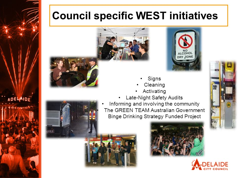 Council specific WEST initiatives Signs Cleaning Activating Late-Night Safety Audits Informing and involving the community The GREEN TEAM Australian G