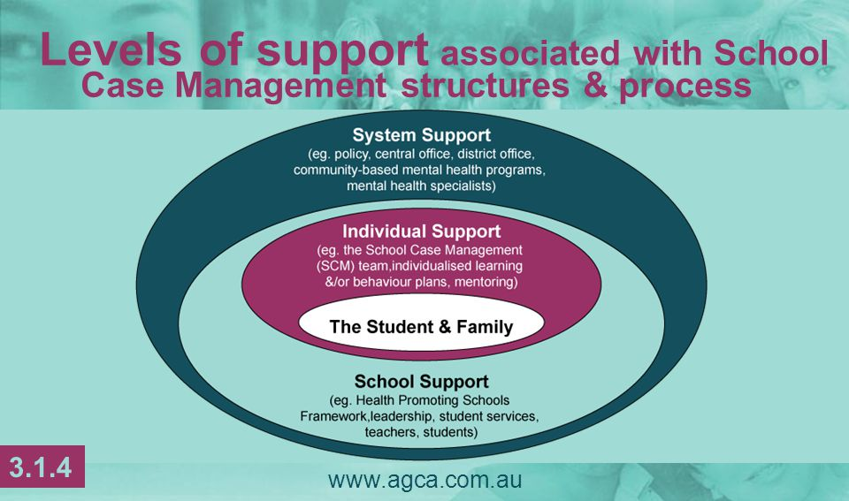  Roles & responsibilities of the members of the SCM team are outlined, clearly understood, & communicated  The SCM team develops a shared vision  The SCM team is adequately resourced www.agca.com.au Establishing a school-based system 3.1.15