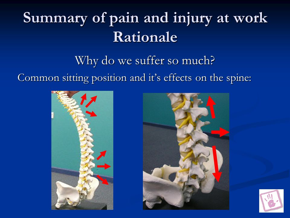 Summary of pain and injury at work Rationale Why do we suffer so much.
