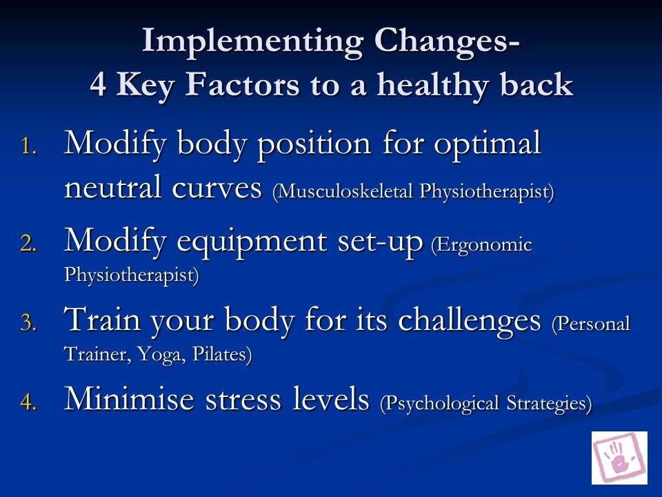 Implementing Changes- 4 Key Factors to a healthy back 1.