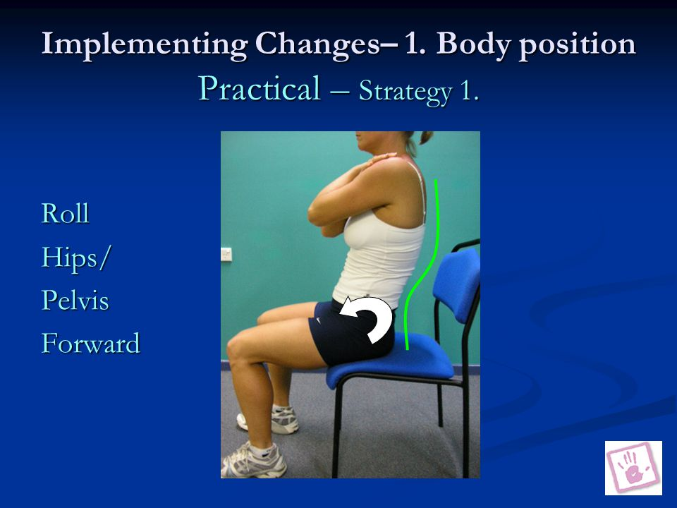 Implementing Changes– 1. Body position Practical – Strategy 1. RollHips/PelvisForward