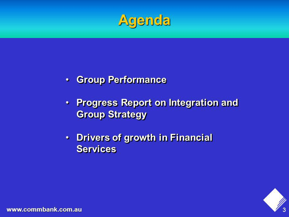 24 www.commbank.com.au Areas of Strategic Focus Rationalisation of the Financial Services product setRationalisation of the Financial Services product set Improvement in customer serviceImprovement in customer service Continued focus on productivity improvementContinued focus on productivity improvement