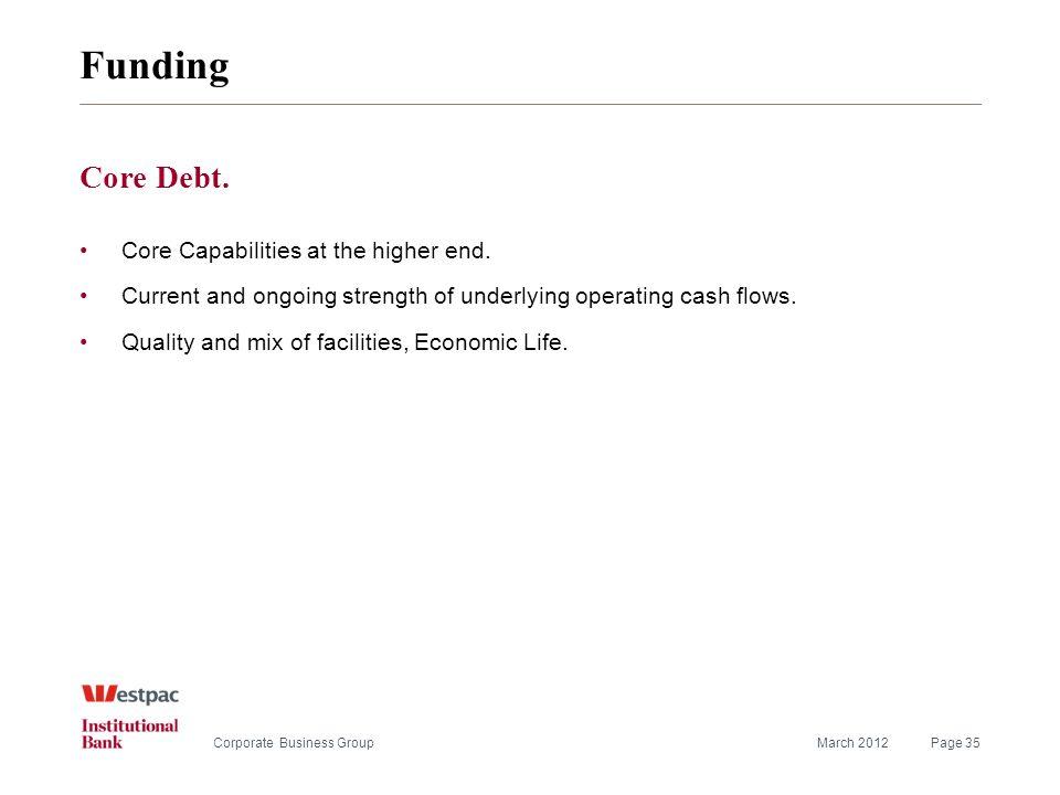 Funding March 2012Page 35Corporate Business Group Core Debt.
