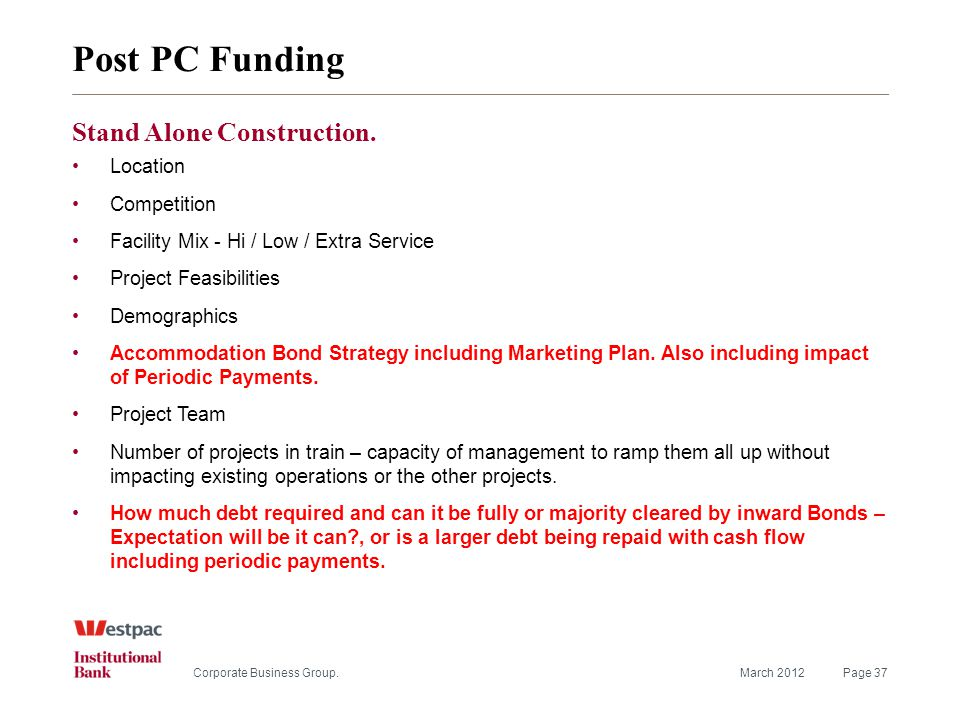 Post PC Funding March 2012Page 37Corporate Business Group.
