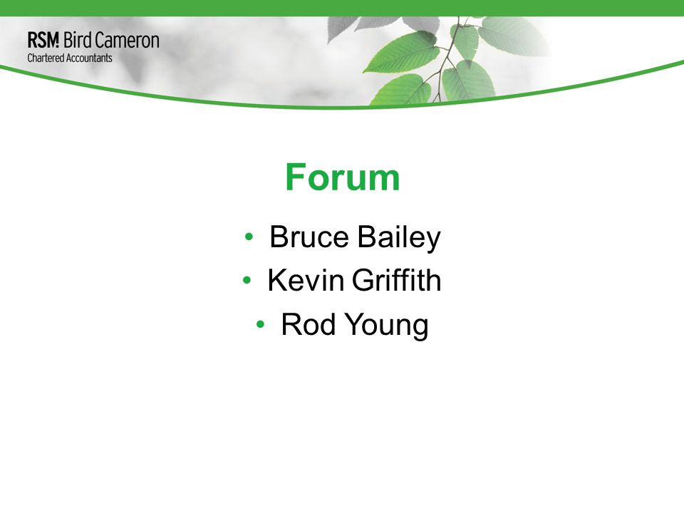 Forum Bruce Bailey Kevin Griffith Rod Young