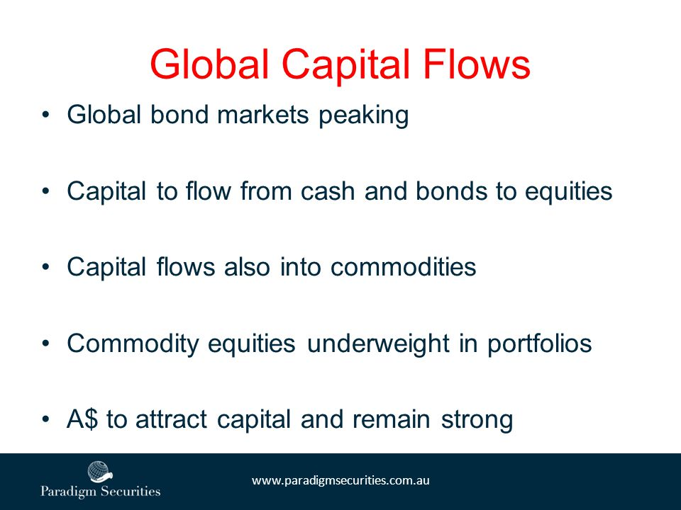 www.paradigmsecurities.com.au Global Capital Flows Global bond markets peaking Capital to flow from cash and bonds to equities Capital flows also into commodities Commodity equities underweight in portfolios A$ to attract capital and remain strong
