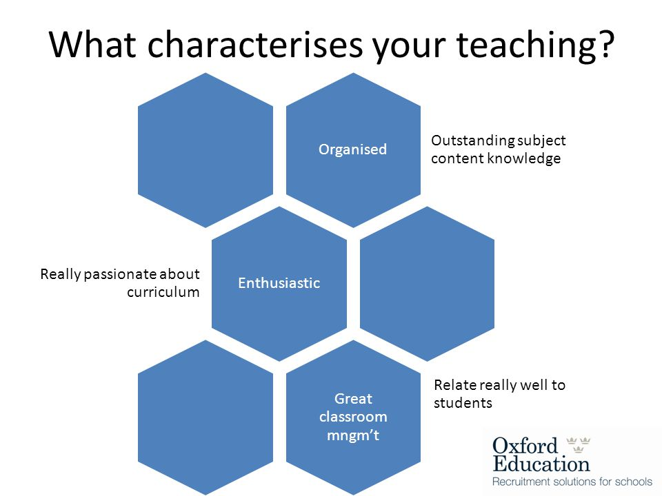 What characterises your teaching.