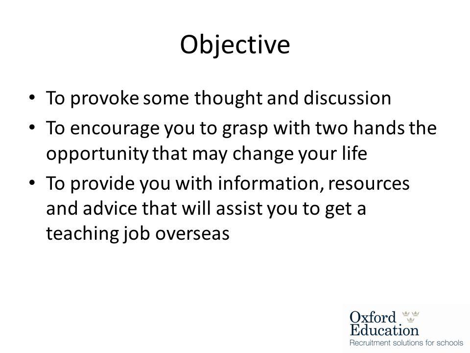 Starter for 10 Previous overseas employment experiences.
