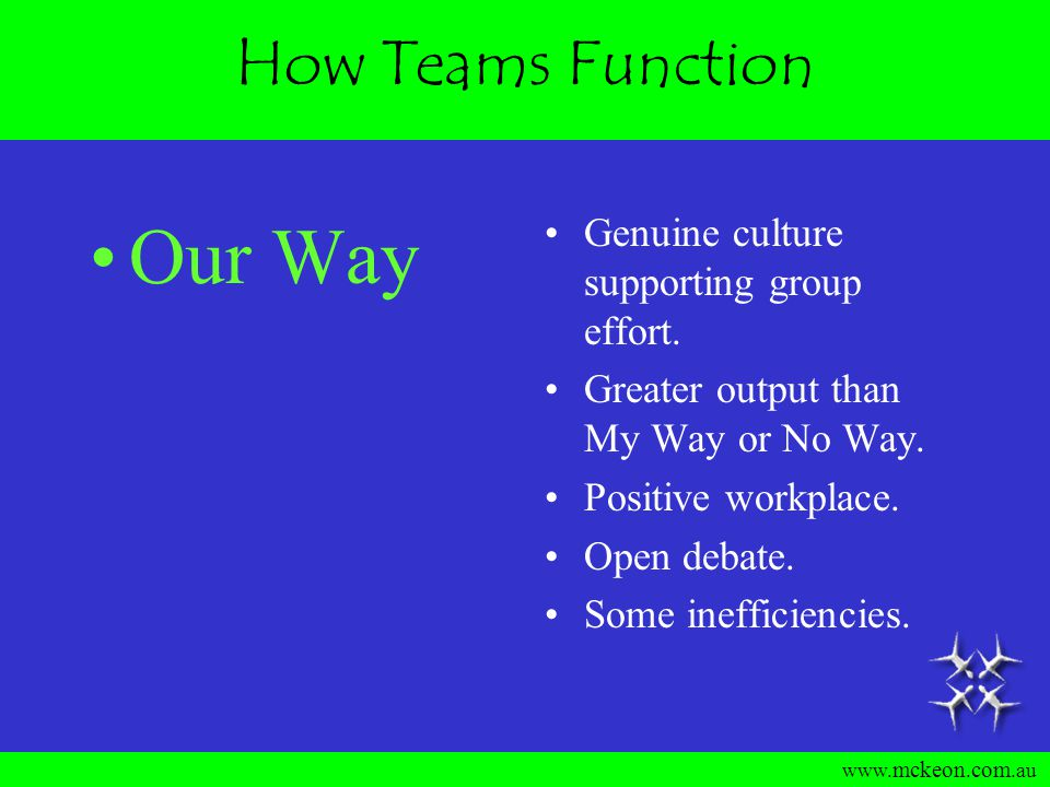 www. mckeon. com.au How Teams Function No Way Lipservice to team output.