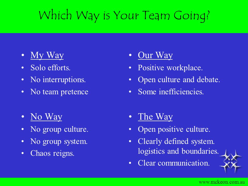 www. mckeon. com.au How Teams Function The Way Open positive and supporting culture.