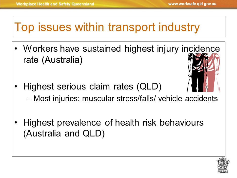 Workplace Health and Safety Queensland www.worksafe.qld.gov.au Top issues within transport industry Workers have sustained highest injury incidence rate (Australia) Highest serious claim rates (QLD) –Most injuries: muscular stress/falls/ vehicle accidents Highest prevalence of health risk behaviours (Australia and QLD)