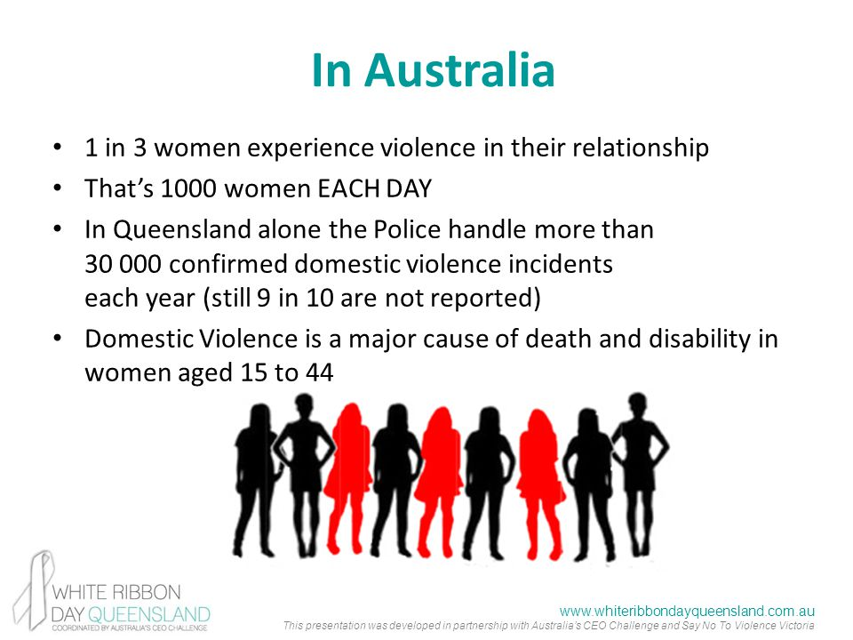 www.whiteribbondayqueensland.com.au This presentation was developed in partnership with Australia's CEO Challenge and Say No To Violence Victoria In Australia 1 in 3 women experience violence in their relationship That's 1000 women EACH DAY In Queensland alone the Police handle more than 30 000 confirmed domestic violence incidents each year (still 9 in 10 are not reported) Domestic Violence is a major cause of death and disability in women aged 15 to 44