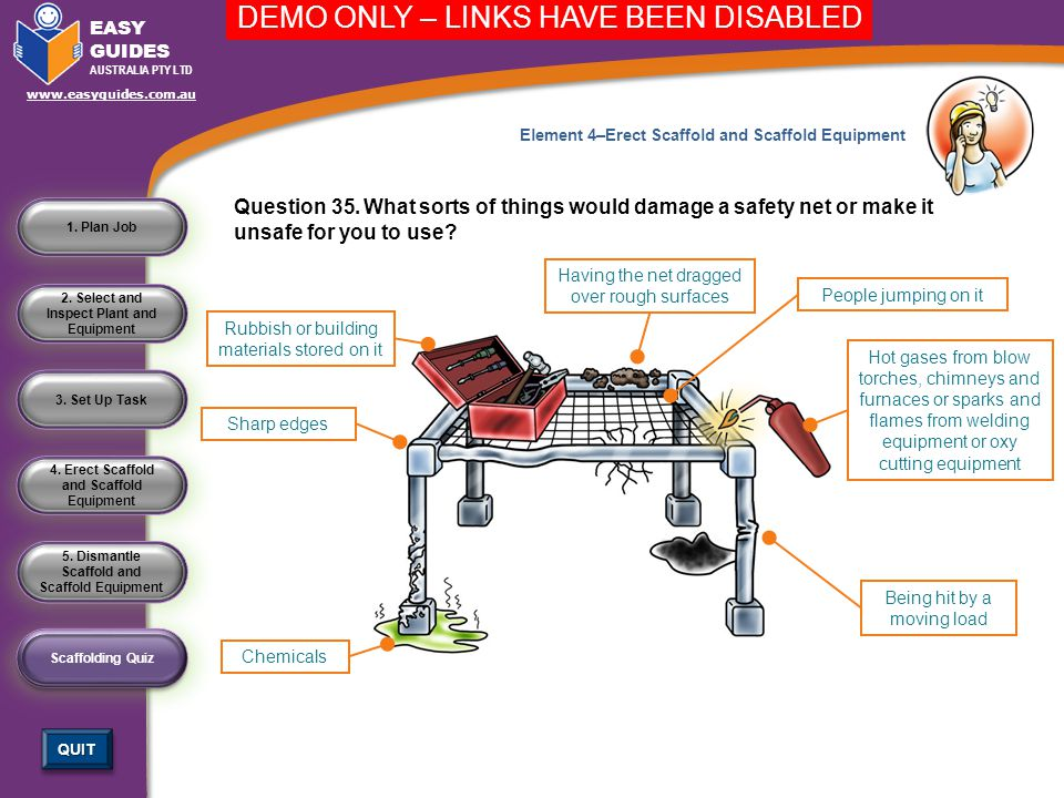 5. Dismantle Scaffold and Scaffold Equipment 4. Erect Scaffold and Scaffold Equipment 3. Set Up Task 2. Select and Inspect Plant and Equipment 1. Plan