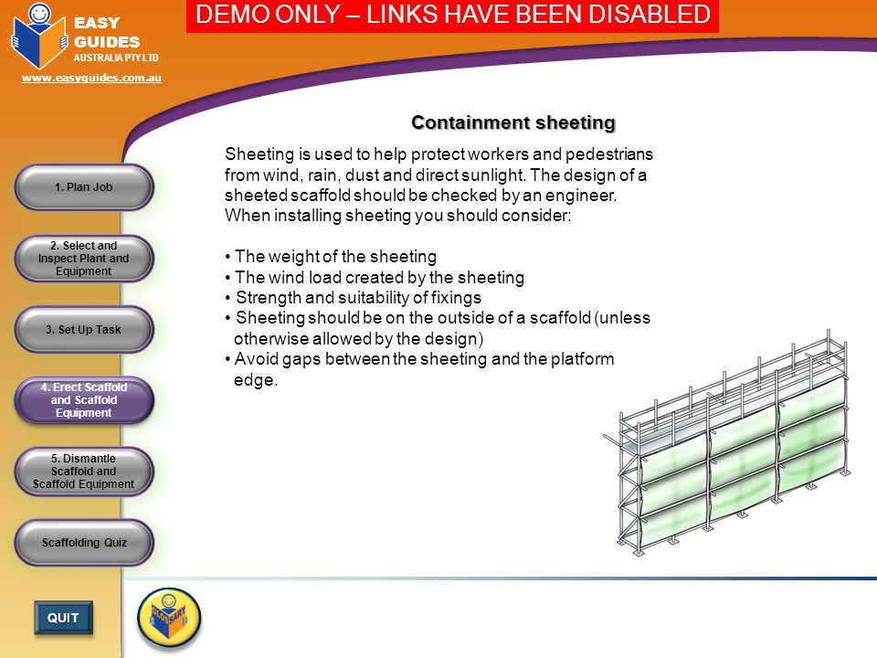 5.Dismantle Scaffold and Scaffold Equipment 4. Erect Scaffold and Scaffold Equipment 3.