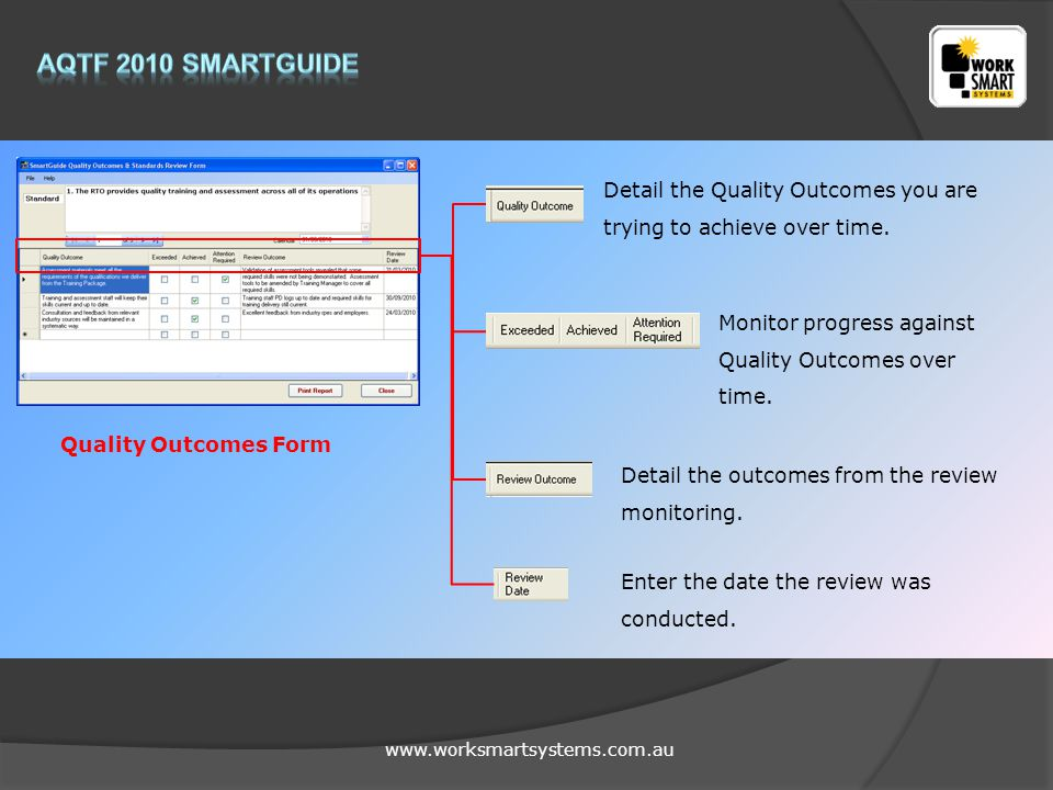 www.worksmartsystems.com.au Detail the Quality Outcomes you are trying to achieve over time. Monitor progress against Quality Outcomes over time. Deta
