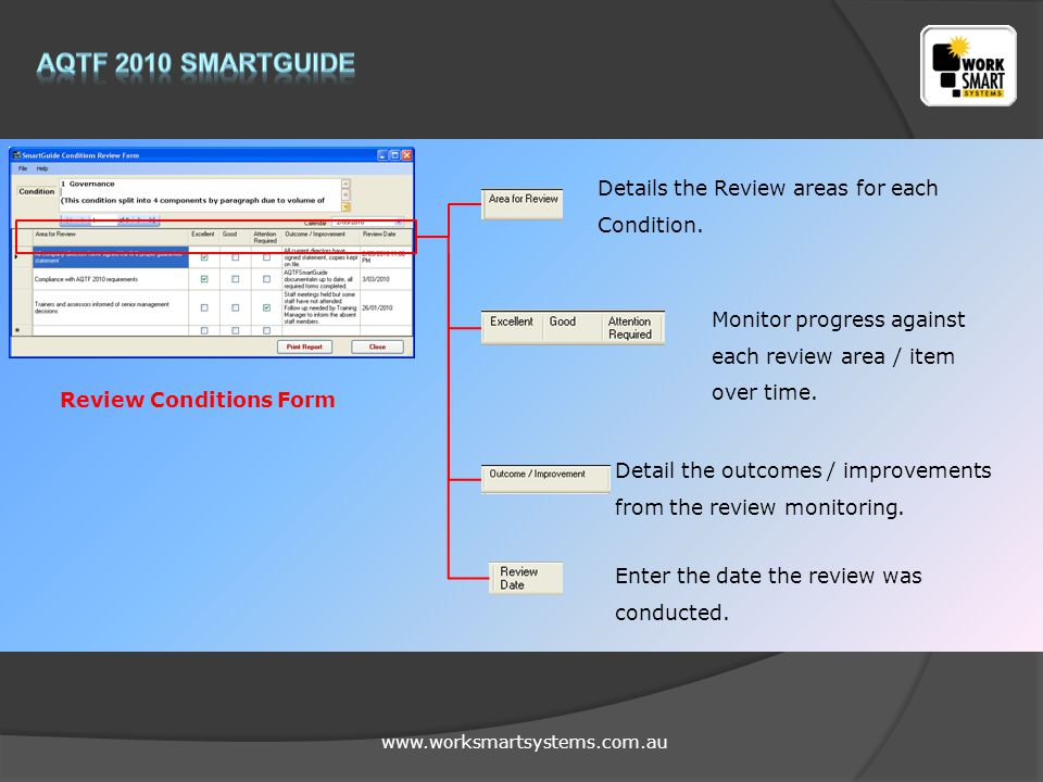 www.worksmartsystems.com.au Review Conditions Form Details the Review areas for each Condition.