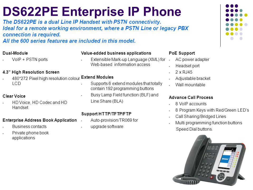 DS622PE Enterprise IP Phone The DS622PE is a dual Line IP Handset with PSTN connectivity. Ideal for a remote working environment, where a PSTN Line or