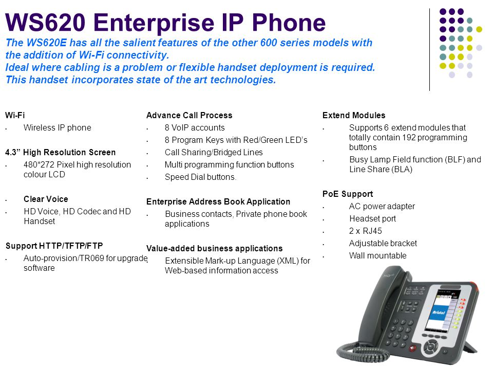 WS620 Enterprise IP Phone The WS620E has all the salient features of the other 600 series models with the addition of Wi-Fi connectivity. Ideal where