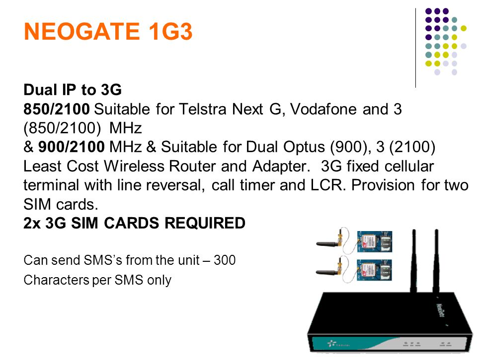 Dual IP to 3G 850/2100 Suitable for Telstra Next G, Vodafone and 3 (850/2100) MHz & 900/2100 MHz & Suitable for Dual Optus (900), 3 (2100) Least Cost