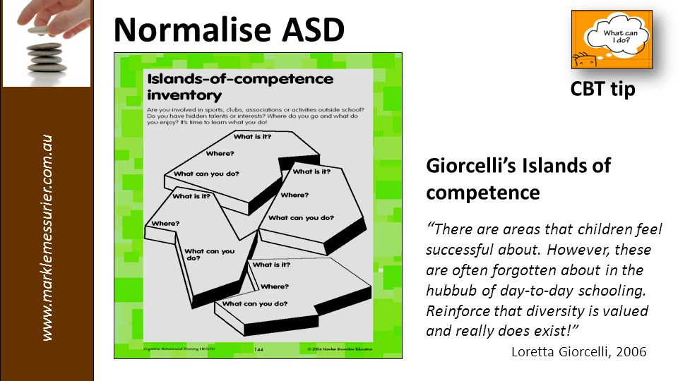 www.marklemessurier.com.au Giorcelli's Islands of competence There are areas that children feel successful about.