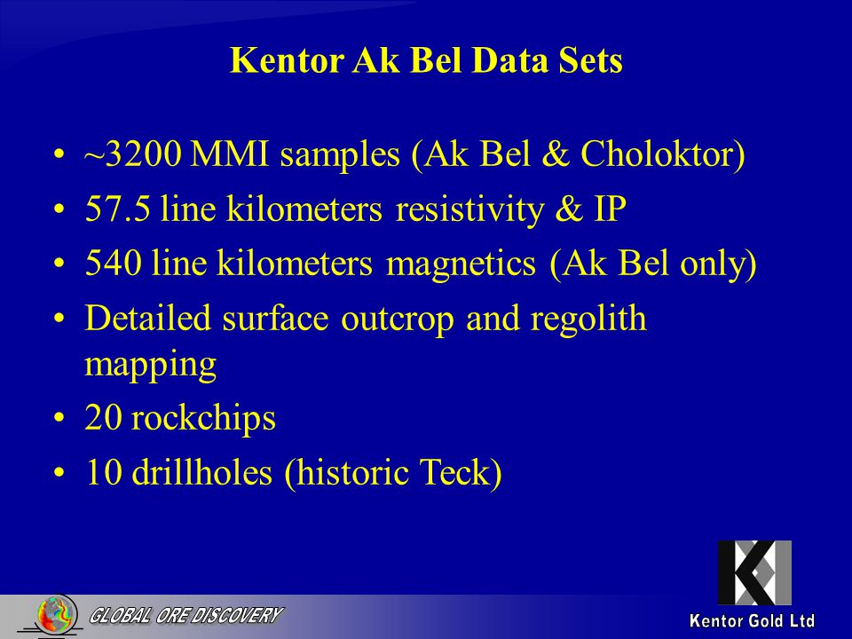 Kentor Ak Bel Data Sets ~3200 MMI samples (Ak Bel & Choloktor) 57.5 line kilometers resistivity & IP 540 line kilometers magnetics (Ak Bel only) Detailed surface outcrop and regolith mapping 20 rockchips 10 drillholes (historic Teck)