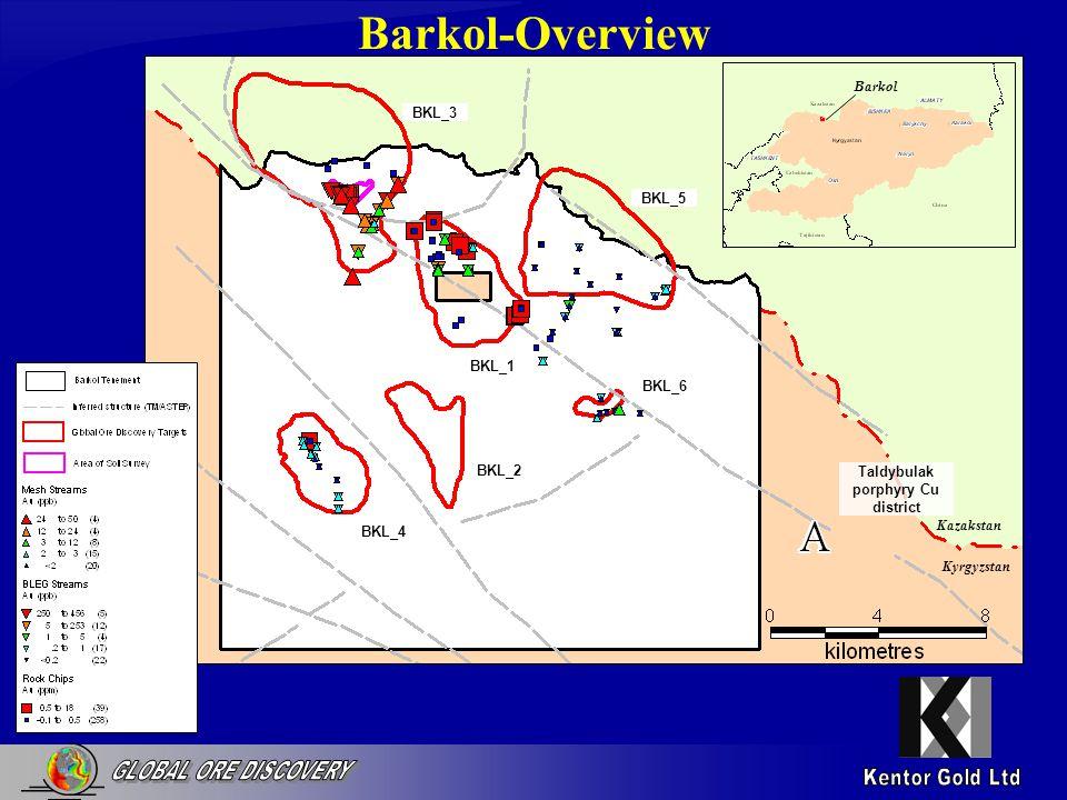 Barkol-Overview BKL_2 BKL_1 BKL_3 BKL_4 BKL_5 BKL_6 Kazakstan Kyrgyzstan Taldybulak porphyry Cu district Barkol