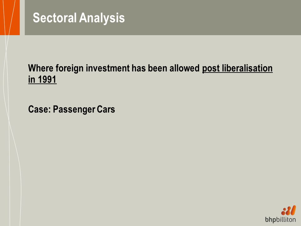 Where foreign investment has been allowed post liberalisation in 1991 Case: Passenger Cars Sectoral Analysis