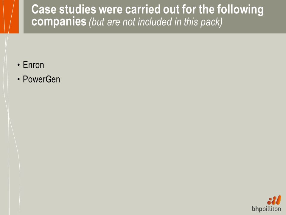 Case studies were carried out for the following companies (but are not included in this pack) Enron PowerGen
