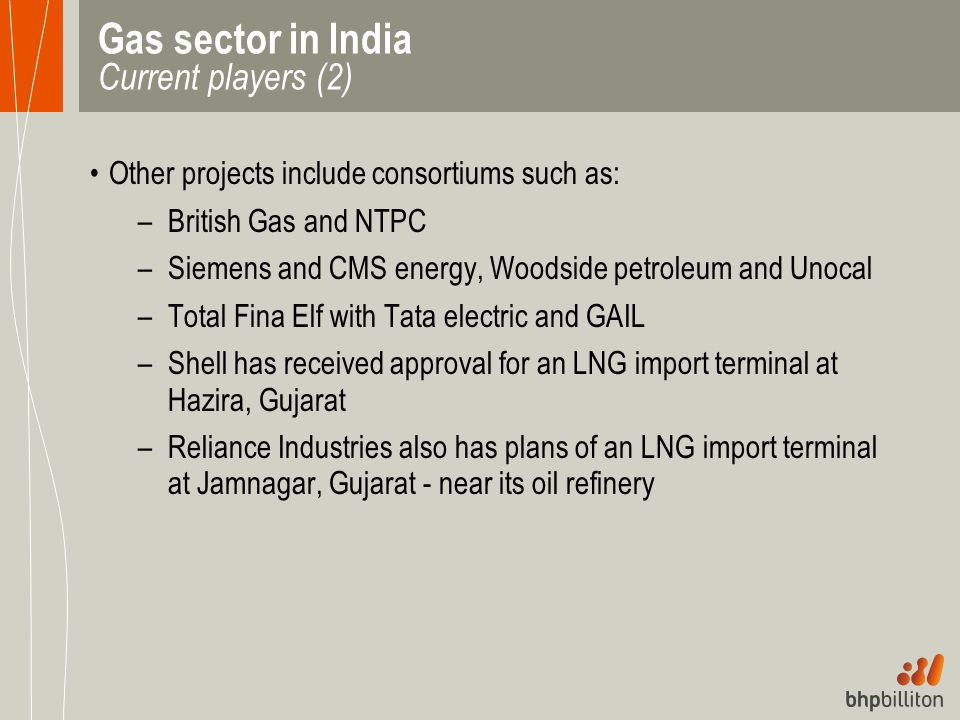 Gas sector in India Current players (2) Other projects include consortiums such as: –British Gas and NTPC –Siemens and CMS energy, Woodside petroleum