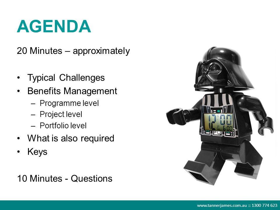 www.tannerjames.com.au :: 1300 774 623 AGENDA 20 Minutes – approximately Typical Challenges Benefits Management –Programme level –Project level –Portf