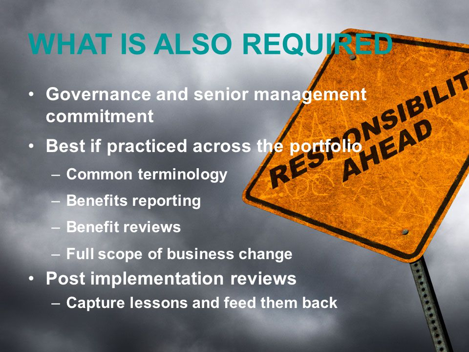 www.tannerjames.com.au :: 1300 774 623 KEYS Get stakeholders involved early Create a Benefit Map / Benefit Dependency Network, and Benefits Distribution Matrix Focus on the Mandate Assign responsibility for benefits Impact on strategic objectives and BAU KPIs Review and Update MEASURE!